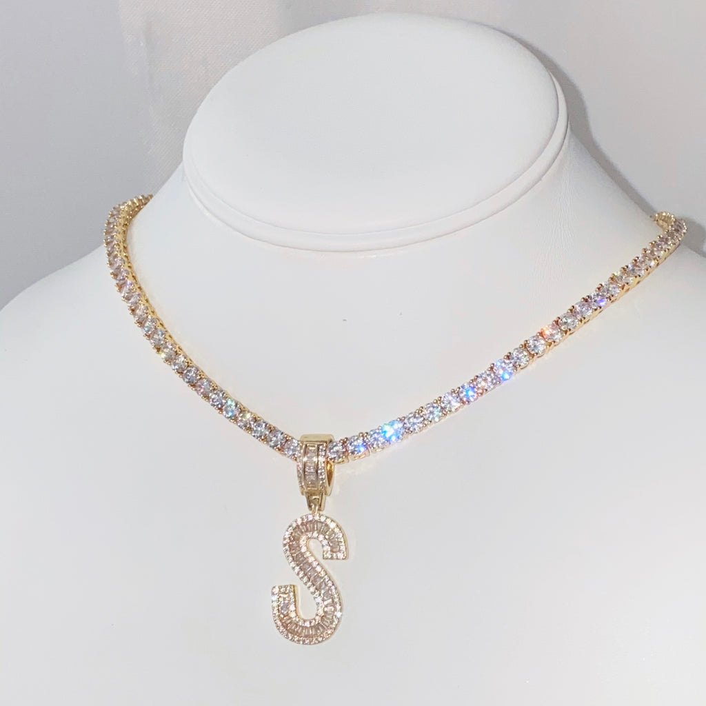 Gold Baguette Initial Tennis Necklace - One of Sevyn Collection