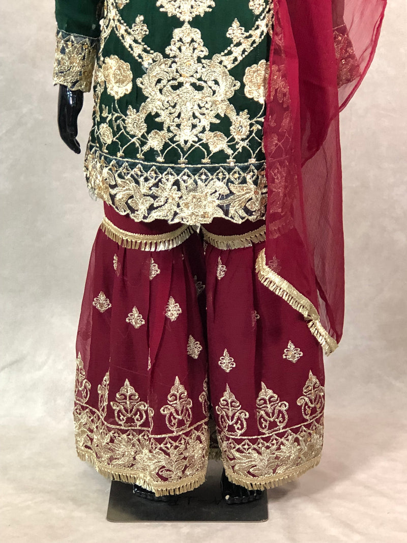 Maroon kurta with Fancy Banarasi Waist coat
