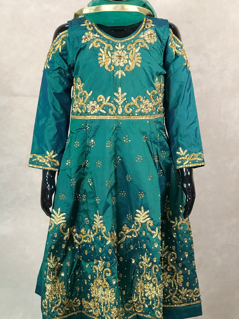 Black with golden print fancy sleeves 3 piece casual outfit