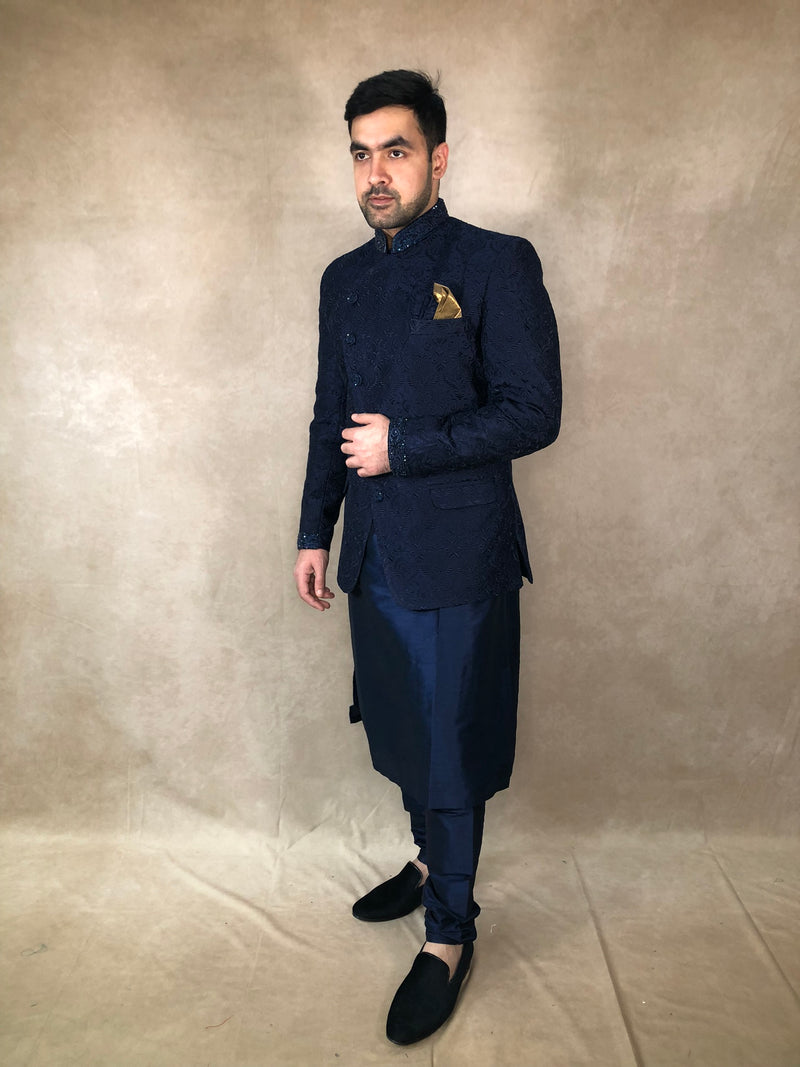 Navy blue with gold Lehenga choli - Sai Fashions (UK) Ltd.