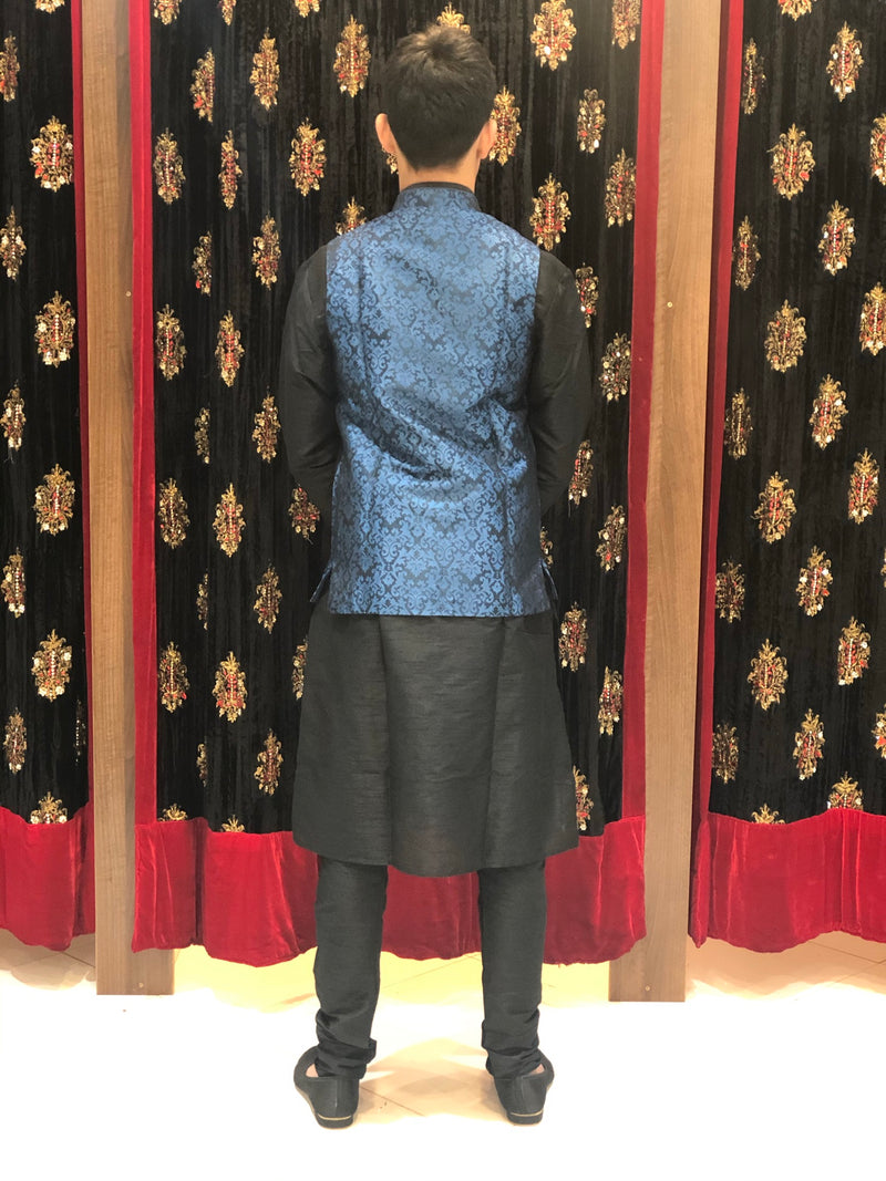 Black kurta with Blue Banarasi Waist coat