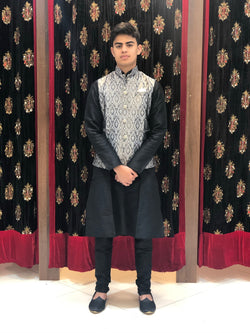 Black kurta with Grey Banarasi Waist coat