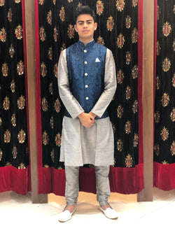 Grey kurta with Blue Banarasi Waist coat