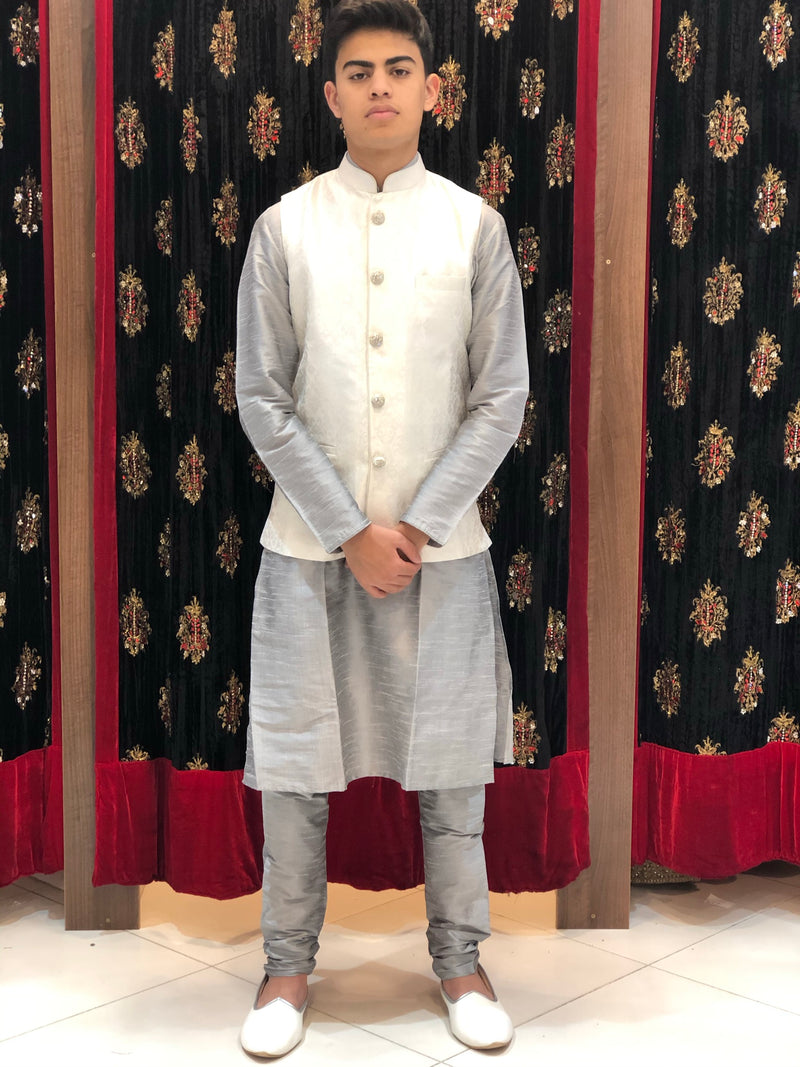 Grey kurta with Off white Banarasi Waist coat
