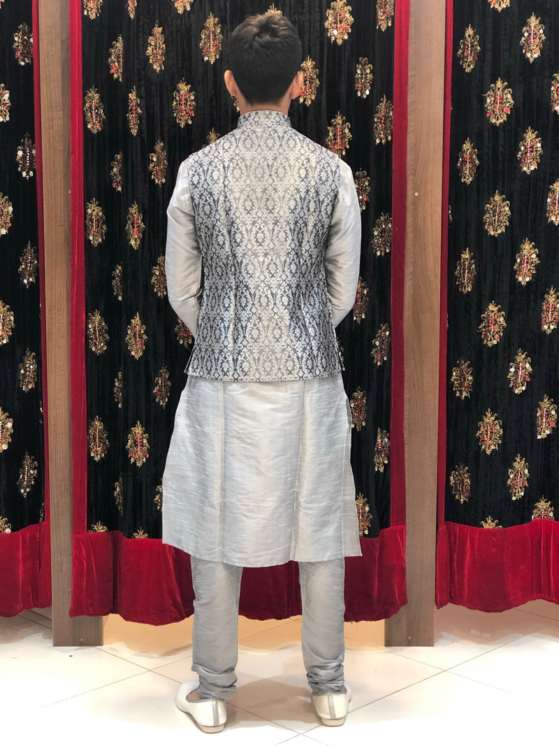 Grey kurta with Grey Banarasi Waist coat