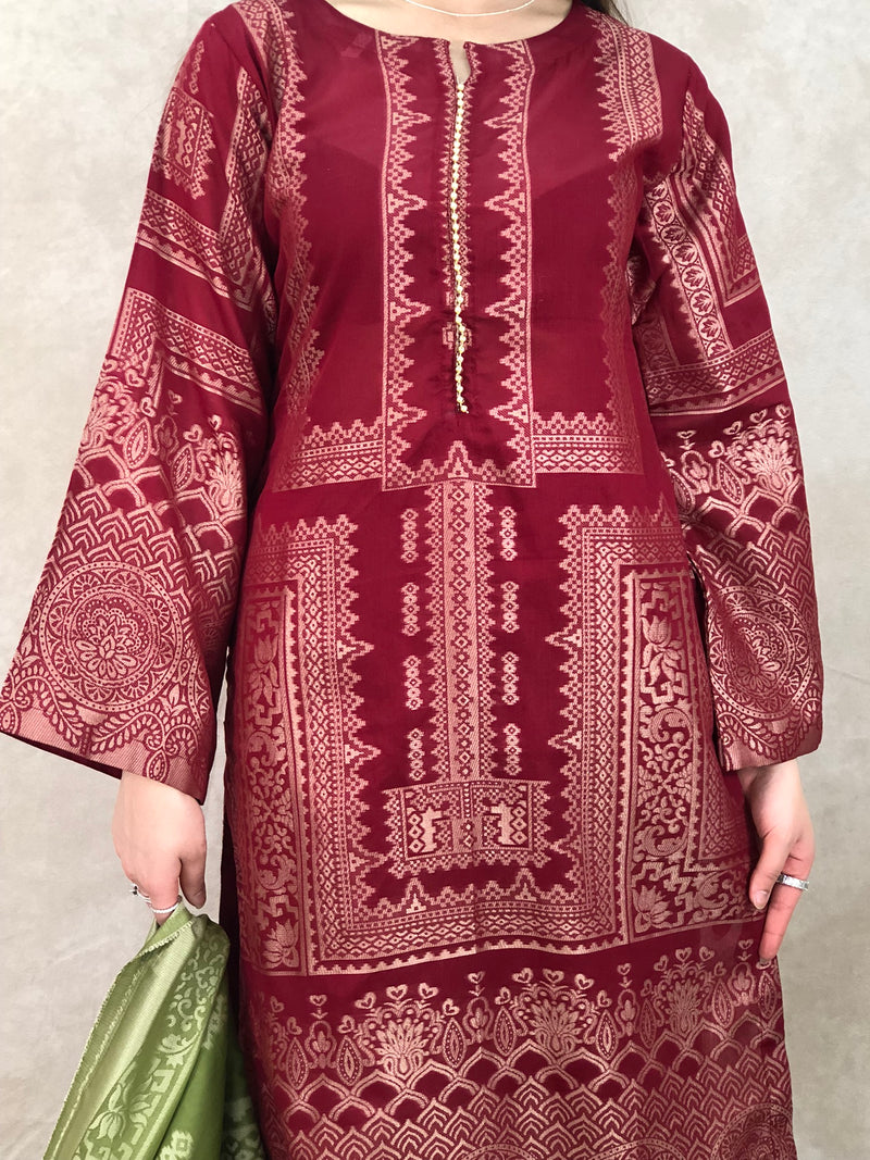 Peach, Gold & Silver 9Pc Bridal Set - Sai Fashions (UK) Ltd.