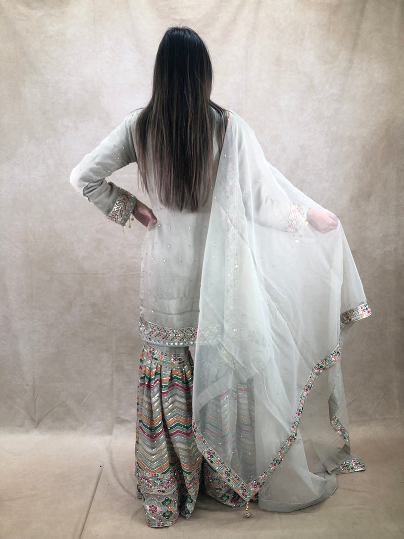 Grey machine embroidered fancy sleeves 3 piece outfit