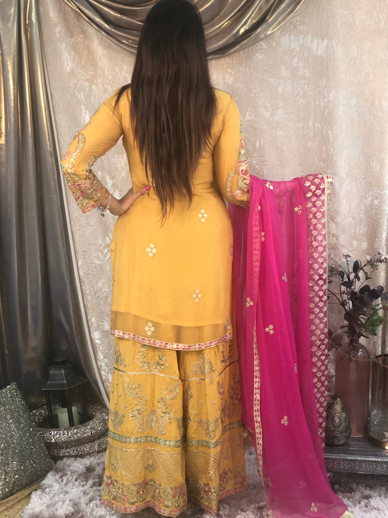 Light Gold heavy embroidered and pearls embellished 3 piece Gharara outfit