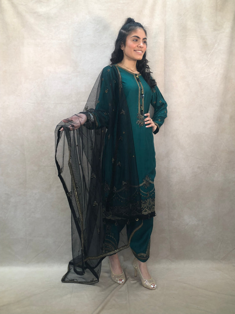 Gold with maroon full sequence work with pearls stone embellishment stylish sharara outfit