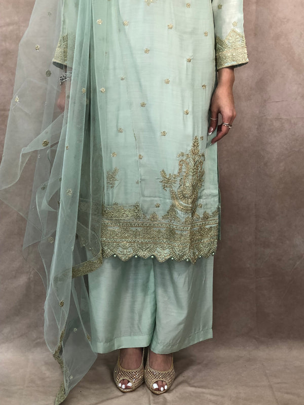 Gold with navy blue full sequence work with pearls stone embellishment stylish sharara outfit