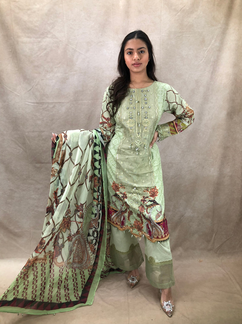 Rose Gold & Green AD 3 Piece Set