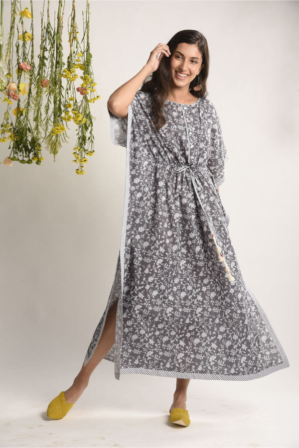 Steel Grey Floral Kaftan Dress - Floral Collection -DreamSS by Shilpa Shetty
