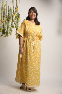 Sunshine Yellow Floral Kaftan Dress - Floral Collection -DreamSS by Shilpa Shetty