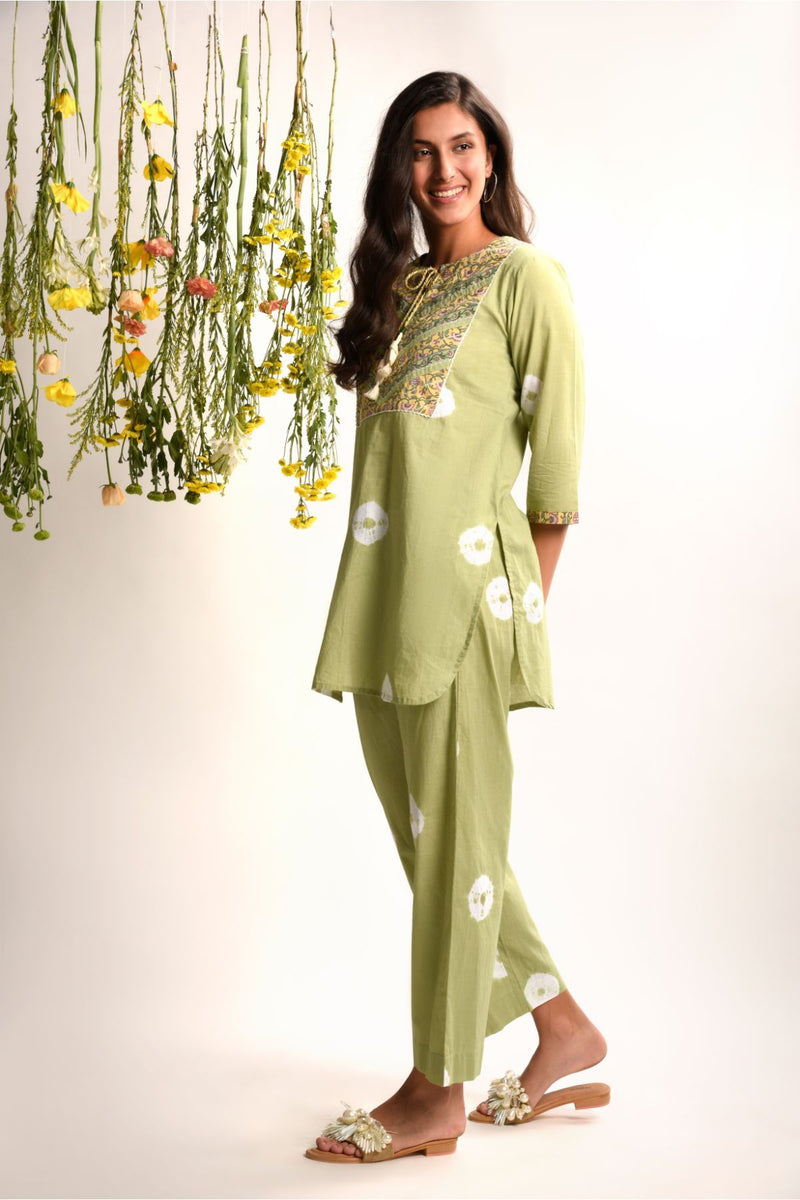 Two Piece Pista Green Tie and Dye Set - Tie and Dye Collection -DreamSS by Shilpa Shetty