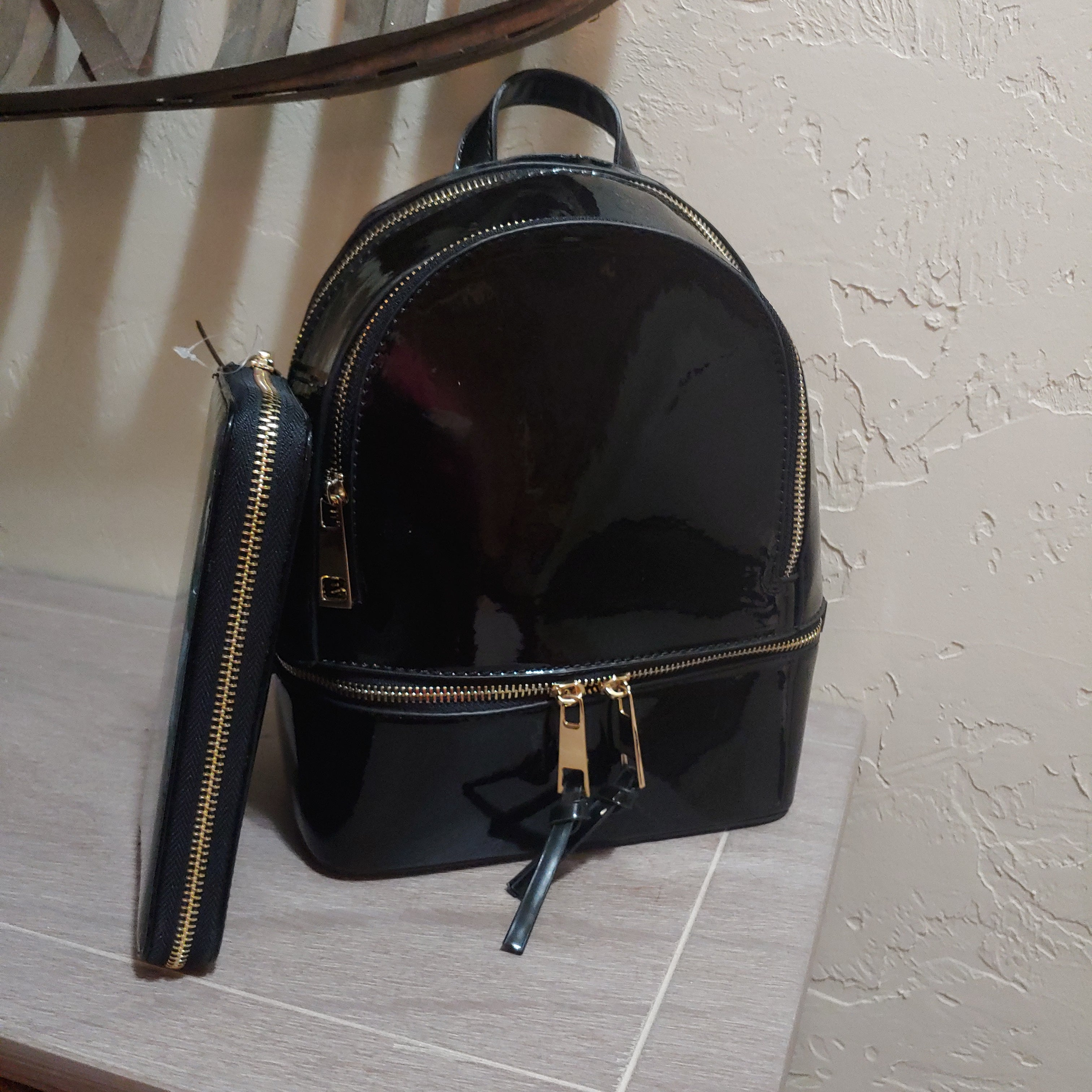 Metallic Black  Backpack Purse & Wallet