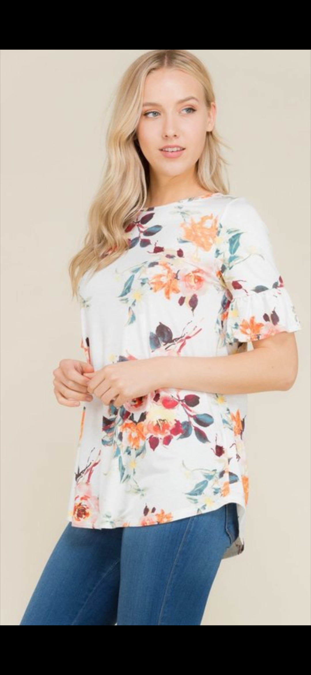 Ivory White Floral Ruffle Short Sleeve Top