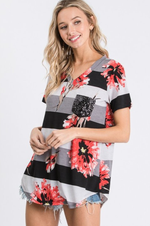 Load image into Gallery viewer, V Neck Black Gray White Floral Stripe Sequin Pocket Top
