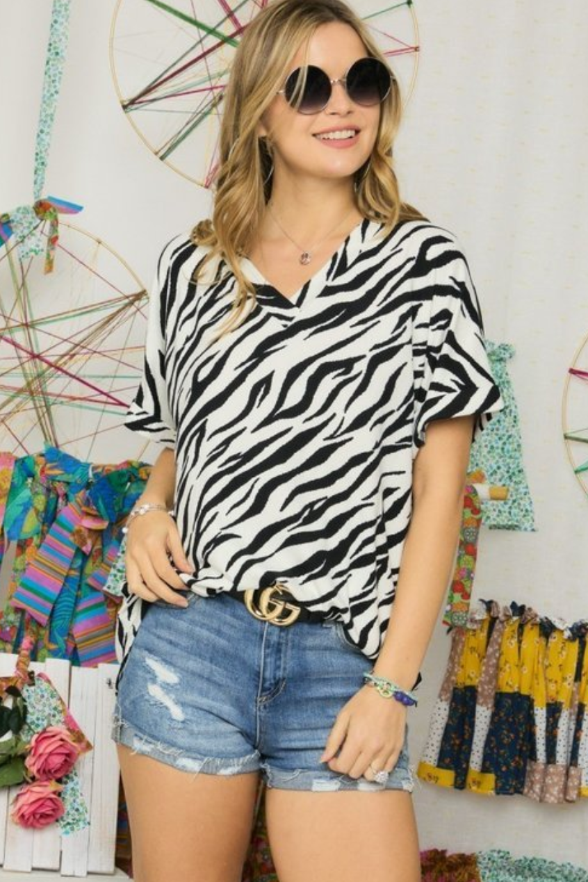Taupe or Ivory Zebra Stripe V Neck Short Sleeve Top