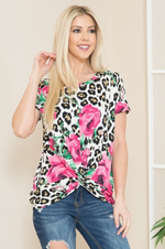 Load image into Gallery viewer, White Leopard Pink Rose Floral Short Sleeve Twist Front Top