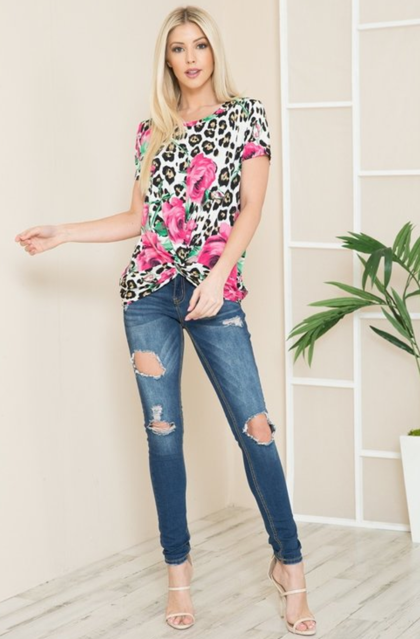 White Leopard Pink Rose Floral Short Sleeve Twist Front Top