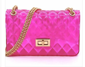 Designer Inspired Jelly Gem Cut Clutch Purse with Gold Chain Strap