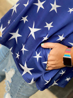 Load image into Gallery viewer, Curvy Navy Star Cold Shoulder