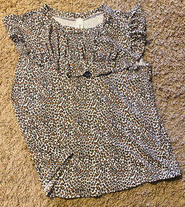 Curvy Cheetah Print Short Sleeve Top -Ruffle
