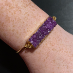 Load image into Gallery viewer, Pink Panache Gold & Amethyst Druzy Bangle Bracelet