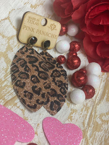 Pink Panache Bronze Leopard Earrings