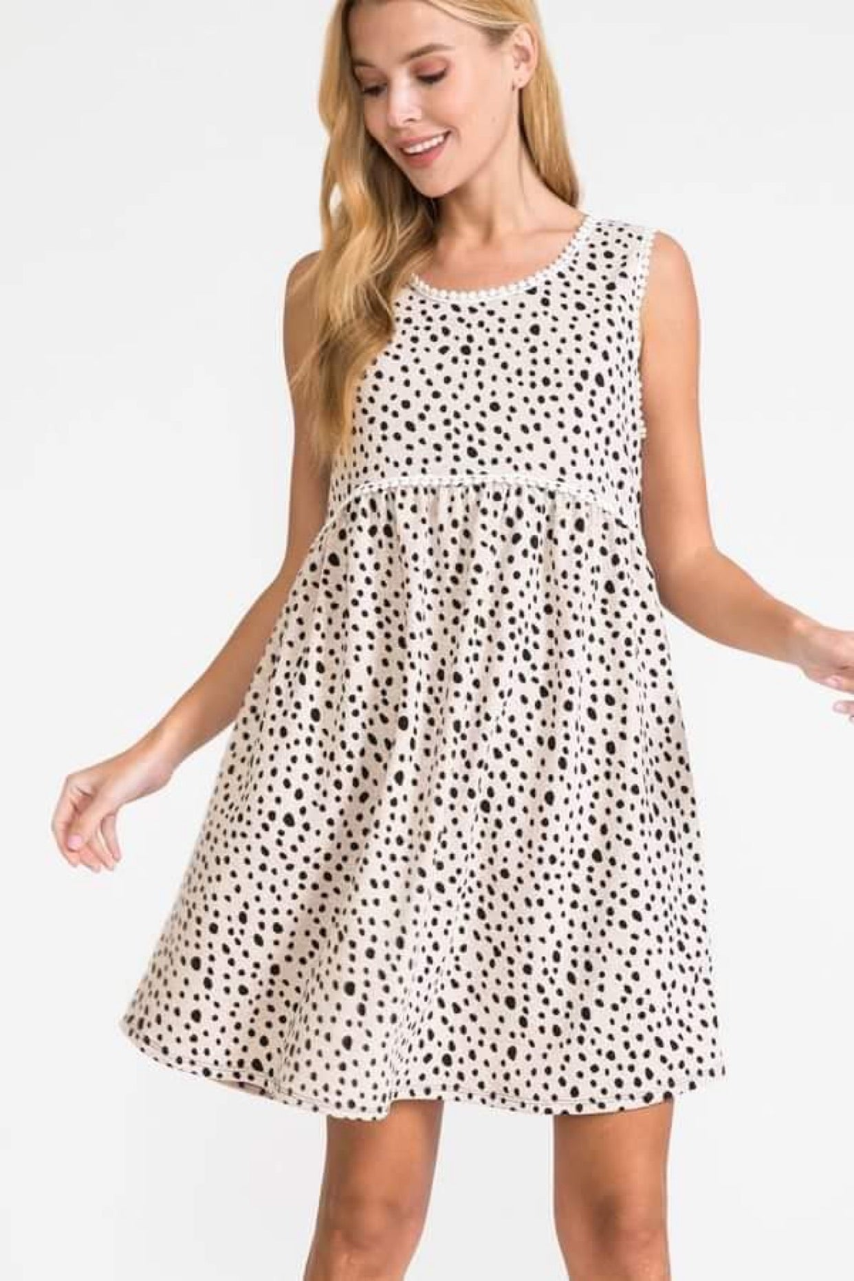 Taupe Dalmatian  Babydoll Tank Dress w/ Small Pom Accents