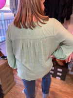 Load image into Gallery viewer, Curvy Sage Long Sleeve Woven Top