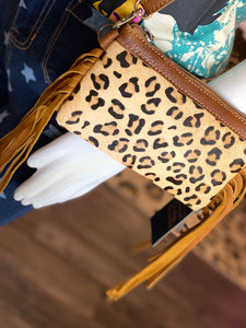 Small Leather [Hair on Hide] Tan Leopard & Fringe Crossbody Purse