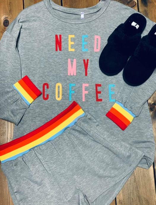 Need My Coffee Rainbow PJ Set