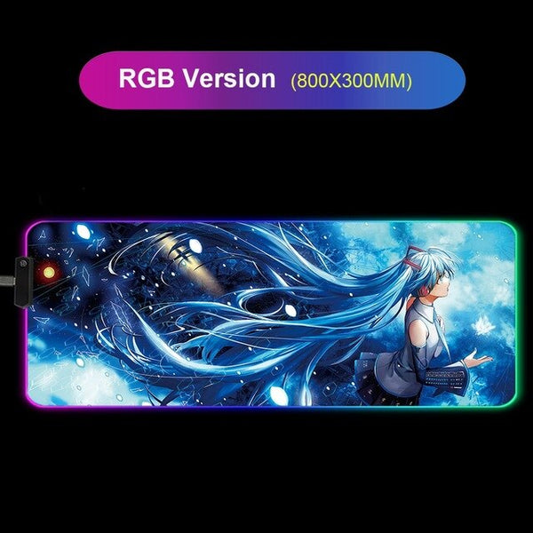 Hatsune Miku Anime RGB Large Gaming Mouse Pad - 80x30cm-Giant Mouse Pad Store