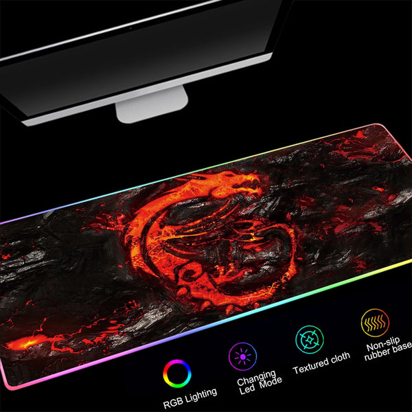 Red Dragon RGB Large Gaming Mouse Pad - Various Sizes-Giant Mouse Pad Store