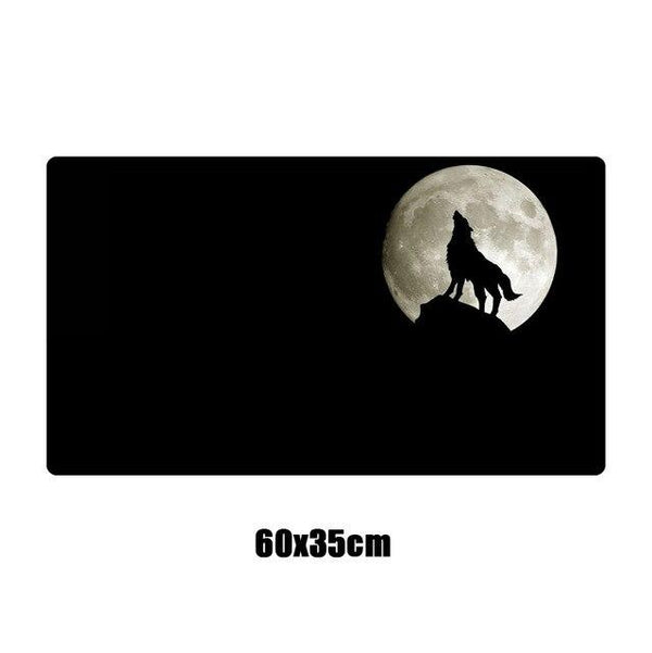Black Full Moon Wolf Large Gaming Mouse Pad - Various Sizes