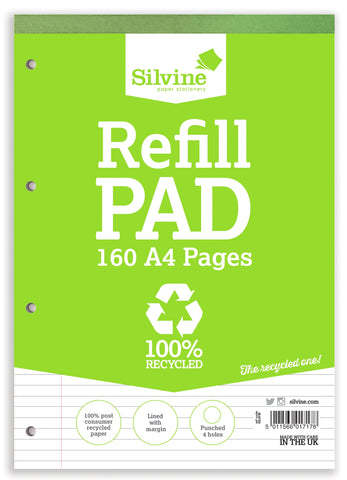 A4 Refill Pad 100% Recycled Consumer Waste - 160pg/ Ruled
