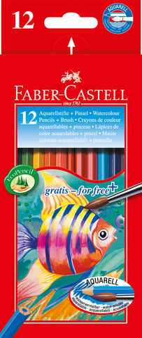 Water Soluble Colouring Pencils Plus Brush - Pkt x 12 Asstd Cols