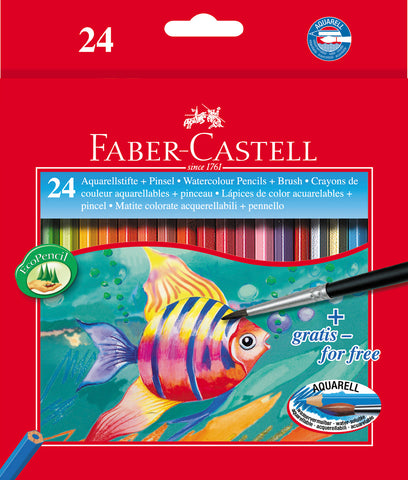 Water Soluble Colouring Pencils Plus Brush - Pkt x 24 Asstd Cols