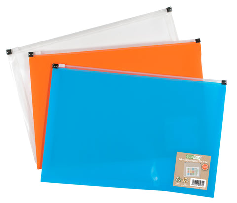 Expanding Zip File A4+ ECO - Assorted Colours