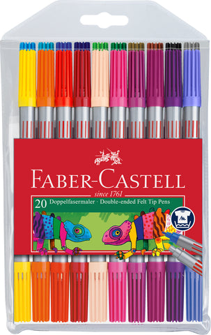 Felt Tip Double-Ended Pens - Wallet X 20