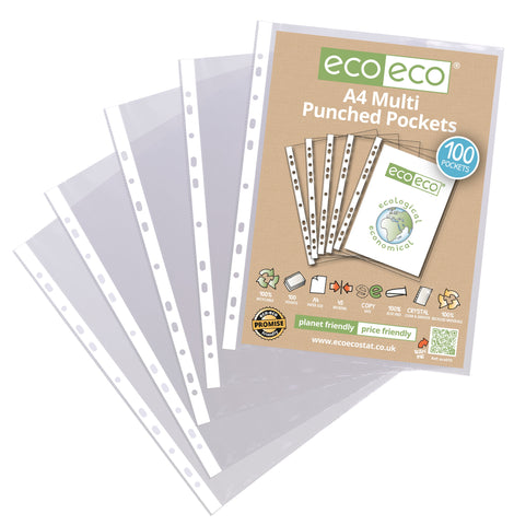 Eco-friendly A4 Multi Punched Pockets - Standard/Pkt x 100 Sleeves