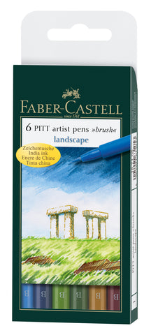 FC - Pitt Artist Pens - Assorted Colours /Wallet x 6 - Landscape