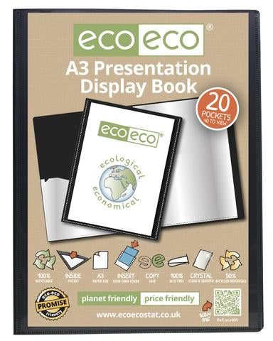 Presentation Display Book A3 ECO - 20pgs/40 viewing - Black