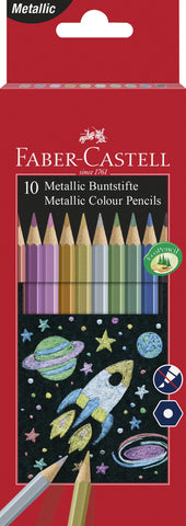 Colouring Pencils Hexagonal Metallic - Pkt x 10 Asstd Cols