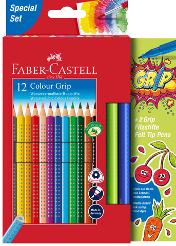 Grip Colour Pencils - Pkt x 12 Assorted Colours Plus 2 Grip Colour Markers