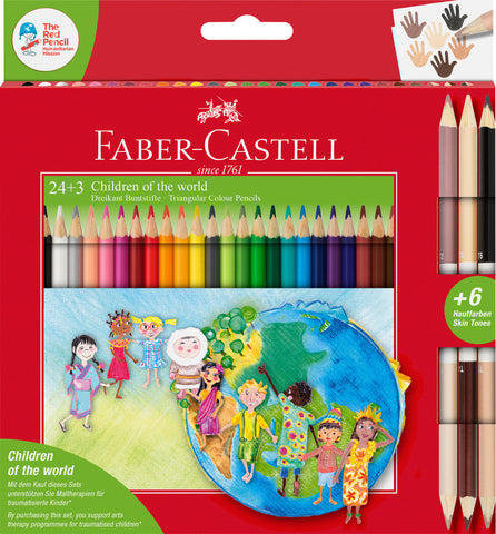 Colouring Pencils Triangular CHILDREN OF THE WORLD - Pkt x 24+3 Assorted Colours