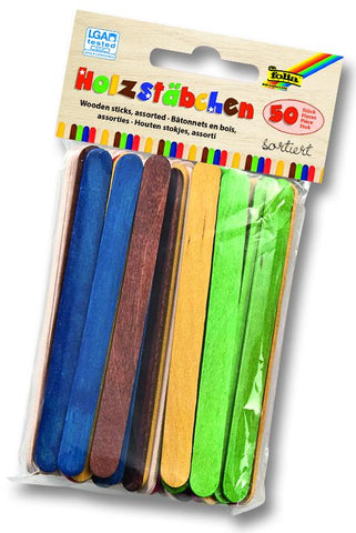 Wooden Sticks - Pkt x 50pcs/Asstd Cols