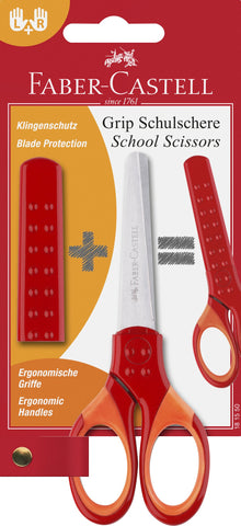 Grip Scissors - Red-Orange/Right Or Left Handed/Child Safe