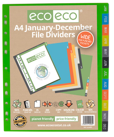 Dividers A4 Wide ECO - Set x 12 January - December